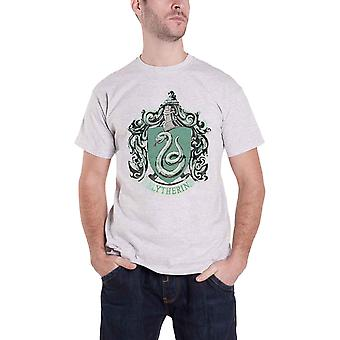 Harry Potter T Shirt Slytherin House Crest Logo new Official Mens Grey