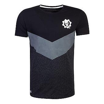 Gears of War tonale kleur blok T-shirt mannelijke grote zwarte (TS777247GOW-L)