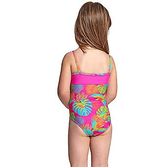 Zoggs Girl's Classicback One Piece Swimsuit in Pink / Multi Elastomax