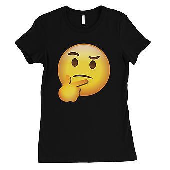 Emoji-Thinking Womens Black Sentimental Good Funny T-Shirt Gag Gift