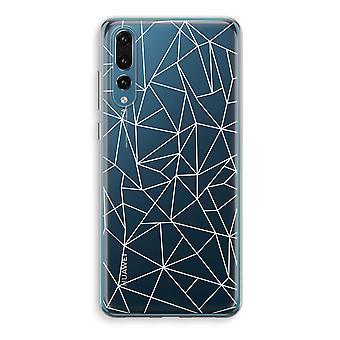 Huawei P20 Pro Transparent Case (Soft) - Geometric lines white