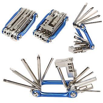 TRIXES хром & синий компактный складной велосипед инструмент Multi торцевой гаечный ключ ключи шестнадцатиричное отвертка набор