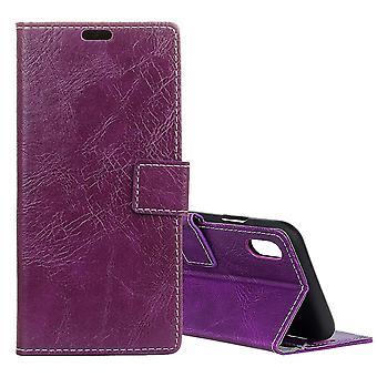 Ajaksi iPhone XR asia violetti retro villi hevonen tekstuuri nahka lompakko kansi