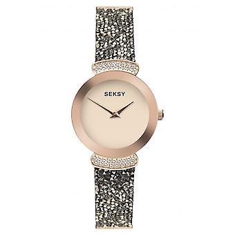 Seksy Ladies Rocks 2716 Round Rose Dial Rose Bezel Bronze Swarovski Crystals Bracelet Watch