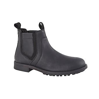 Roamers Black Crazy Horse Leather Twin Gusset Ankle Boot Leather Lining & Sock Tpr Sole
