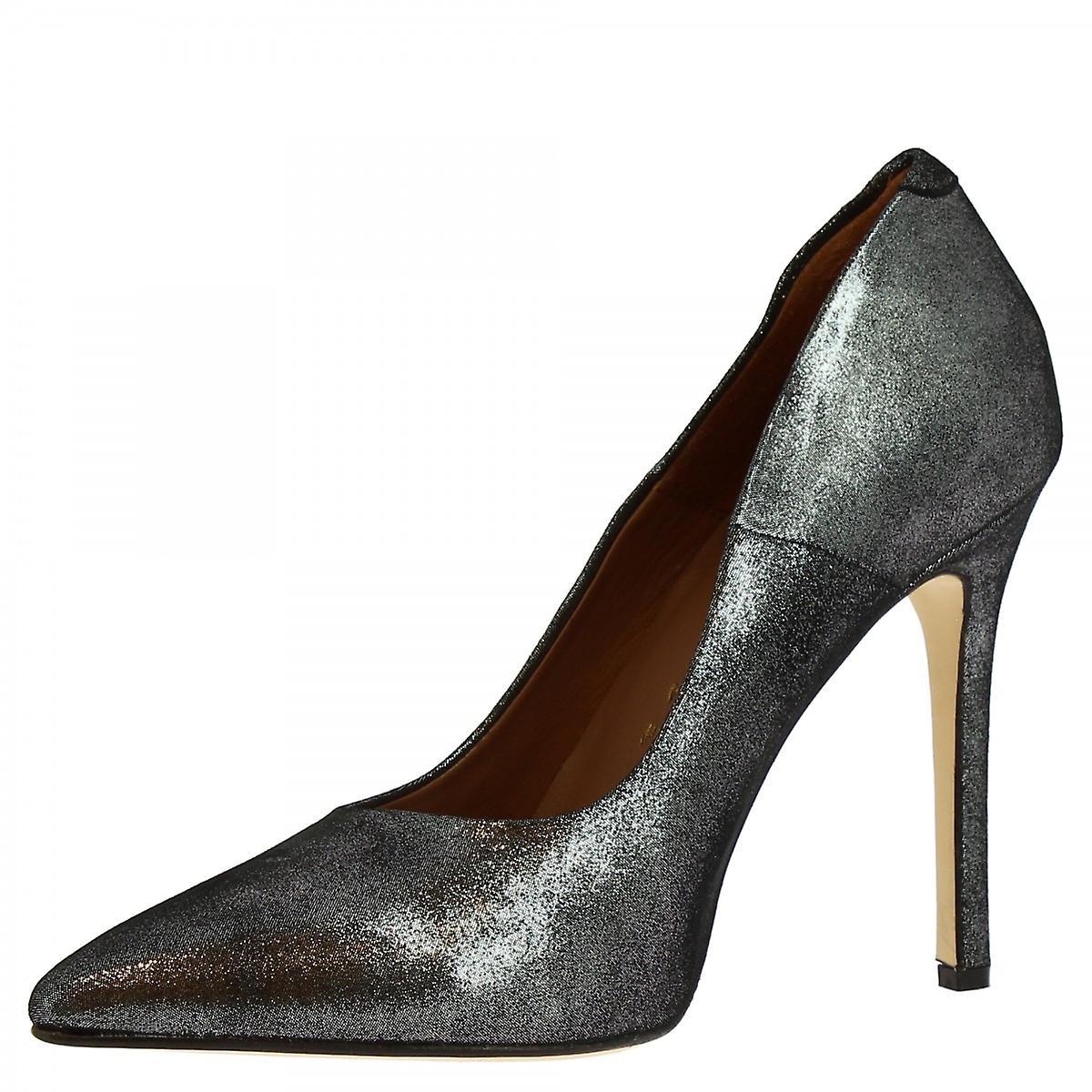 Leonardo Shoes Women's Handmade High Heels Pumps Silver Laminated Leather