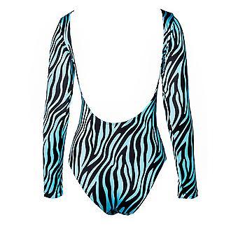 Paramidonna Zbs0104 Women's Light Blue/black Nylon Bodysuit