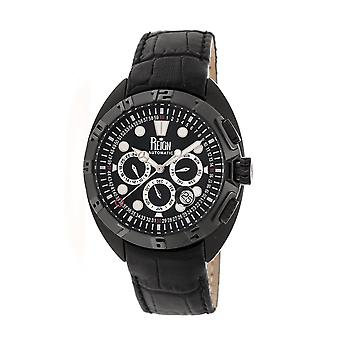 Reign Ronan Automatic Leather-Band Watch w/Day/Date - Black