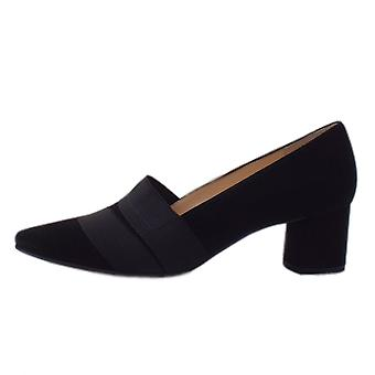 Högl 8-10 4542 Lady H Stylish Pointed Toe Court Shoes In Black Suede