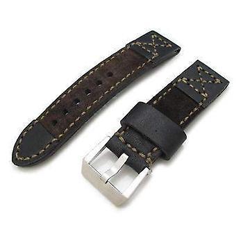 Strapcode leather watch strap 24mm miltat black calf + dark brown suede watch strap,hand stitch