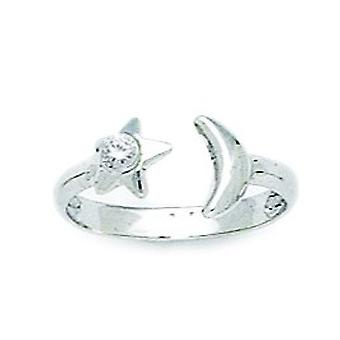 14k White Gold CZ Cubic Zirconia Simulated Diamond Top Adjustable Celestial Moon and Star Body Jewelry Toe Ring Jewelry