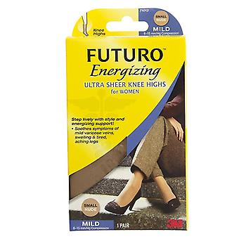 Futuro energizing ultra sheer knee highs, mild, small, nude, 1 pair