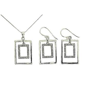TOC Sterling Silver Crystal Set Open Rectangle Earrings & Pendant Set