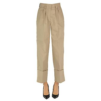 Msgm Ezgl020111 Women's Beige Polyester Pants