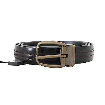 Black bordeaux leather belt