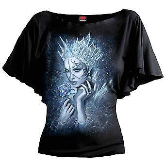 Spiral Direct Gothic ICE QUEEN - Boat Neck Bat Sleeve Top Black Plus Size Roses Vixen Mystical UnDead