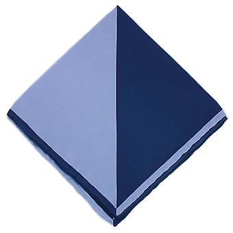 Michelsons of London Two Colour Silk Handkerchief - Navy/Light Blue