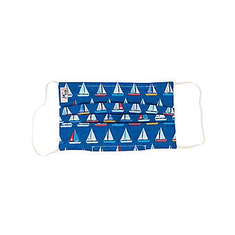 Mio BTS3 Sail Away Yachts Blue Cotton Face Mask with Removable Nose Wire