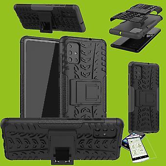 Per Samsung Galaxy M21 M215F / M30s M307F Hybrid Case 2-piece Nero - Custodia in vetro temperato