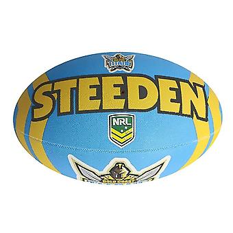 Steeden NRL Gold Coast Titans Supporter 2020 Rugby League Ball Blue/Yellow