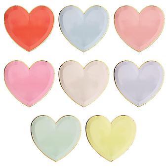 Meri Meri Palett Hjerte Store Plater x 8 Valentines Party