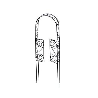Miniature 1:10 Scale 30cm Rustic Brown Metal Garden Arch with Gates for Fairy Gardens