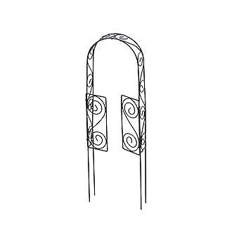 Miniatyr 1:10 Skala 30cm Rustik Brun Metal Garden Arch med grindar för Fairy Gardens
