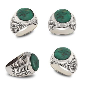 ADEN 925 Sterling Silver Turquoise Biker Ring (id 4525)