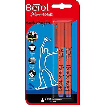Berol Handwriting Pens, Medium Nib, Blue Ink (Pack of 2)