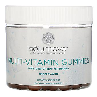 Solumeve, Multi-Vitamin Gummies, Gelatin Free, Grape Flavor, 100 Vegetarian Gumm
