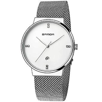 Męski i apos;s zegarek siatkowy pasek wodoodporny zegarek kwarcowy