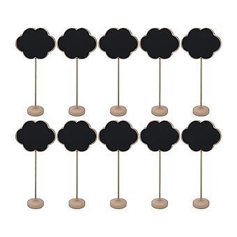 10PCS En bois Mini Stand Tableau noir Signe de décoration en forme de nuage