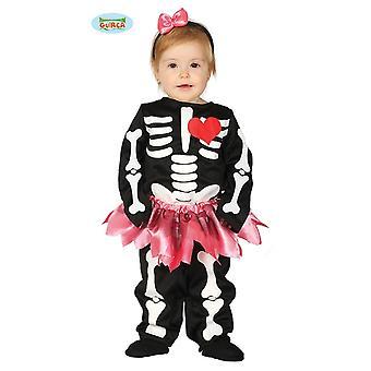 Skelett mit Herz Baby Kostüm süßes Skelett Mädchen mit Rock