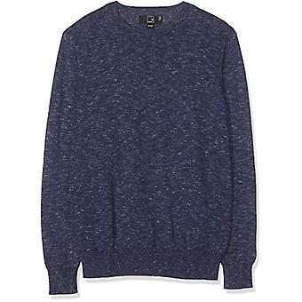 Meraki Men's Slim-Fit Leve Cotton Crew-Neck Contrast Sweater, Navy, XL...
