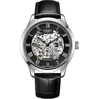 Rotary GS02940-30 Hombres's Greenwich Correa Negra Reloj de Pulsera Automático
