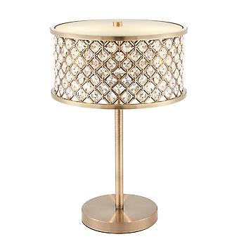 2 Light Table Lamp Antique Brass, Crystal (K9) Drops, E14