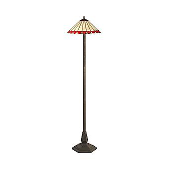 Luminosa Lighting - 2 Light Octagonal Floor Lamp E27 With 40cm Tiffany Shade, Red, Crystal, Aged Antique Brass