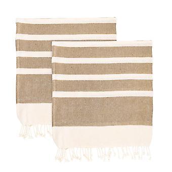 Nicola Spring 100% Turkse katoenen handdoek set | Beach Bath Gym Sauna - Beige - Pack van 2