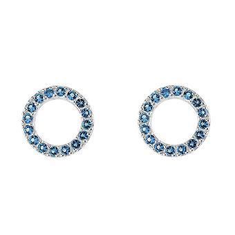 Dew Sterling Silver Open Circle Blue Cubic Zirconia Stud Earrings 3882BLZ