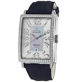 Gevril Kvinnor's 6207NL Glamour Automatisk Diamond Blue MOP Dial läder armbandsur