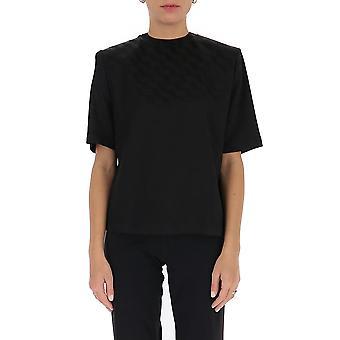 Attico 202wct04v013100 Damen's Schwarz Viskose T-shirt