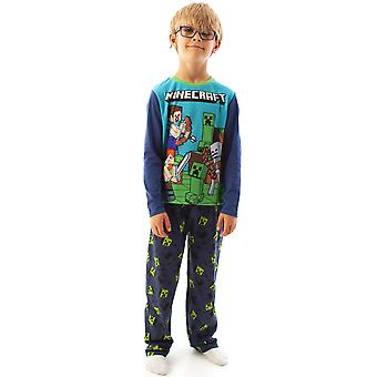 Minecraft Steve i Creeper Long Sleeve Boy&s Blue Piżama Set Kids Sleepwear