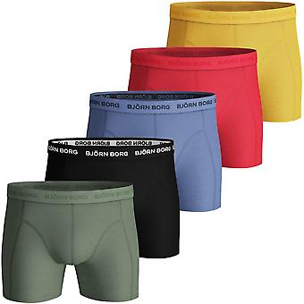 Bjorn Borg 5-Pack Classic Logo Boxer Trunks, Blue/Red/Yellow/Black/Khaki