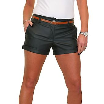 Women's Belted Turn Up Leather Look Shorts Ladies Smart Summer Stretch Hotpants 8-16