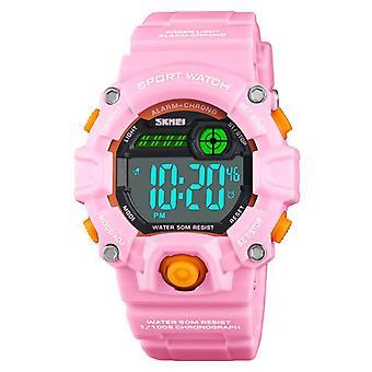Vodotěsné světelné LED digitální dotykové dětské hodinky - růžové