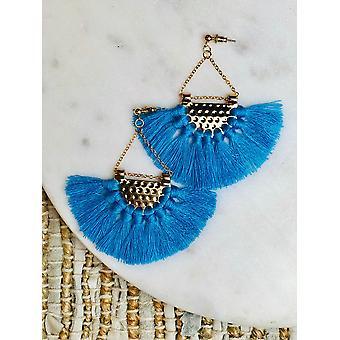 Cotton Yarn Fringe Fan Shape Earrings