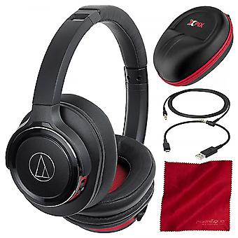 Audio-technica ath-ws660btbrd solid bass wireless over-ear headphones with built-in mic & control and xpix headphone case acces