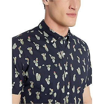 Goodthreads الرجال & apos;ق معيار صالح قصيرة الأكمام المطبوعة قميص بوبلين, الصبار البحرية ...
