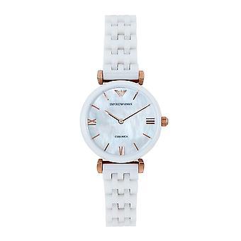 Armani Ar1486 Ruusukulta & Valkoinen Keraamiset Naisten Watch