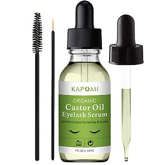 Pure Organic Castor Oil Eyelash Serum 1 oz Cold-Pressed Natural Eyelash Hexane-freel with Mascara Brushes